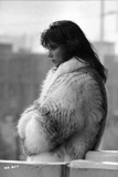 Rachel Ward Looking Away wearing Fur Coat Candid Portrait in Black and White Photo by  Movie Star News