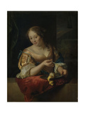 Young Woman with Lemon Prints by Godfried Schalcken