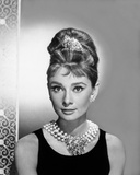 Audrey Hepburn Portrait in Black Top with Pearl Necklace and Diamond Crown Photo by  Movie Star News