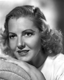 Jean Arthur on White Top Leaning Chin on Hand Portrait Photo by  Movie Star News