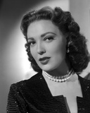 Linda Darnell posed wearing Pearl Necklace in Black and White Photo by  Movie Star News