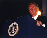 Bill Clinton Talking in Black Coat Photo by  Movie Star News