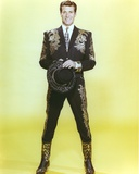 Hugh O'Brien in Embroidered Suit on Yellow Background Photo by  Movie Star News
