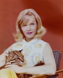 Anne Francis sitting with Baby Leopard Red Background Portrait Photo by  Movie Star News
