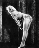 Jayne Mansfield Posed and Bent Over in Zebra Print Two Piece Swimsuit with Chest Leaning Forward an Photo by  Movie Star News