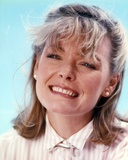 Jane Curtin Portrait in Beige Gingham Collar Shirt in Sky Blue Background Photo by  Movie Star News