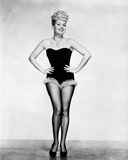 Betty Grable Posed with Hands Laid on the Waist in Black Strapless Tube Sexy Dress with Fur Bottom  Photo by  Movie Star News