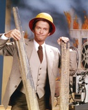 Dick Clark Posed in Gray Coat with Hard Hat Photo by  Movie Star News