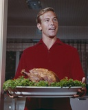 James Franciscus with Roaster Turkey Portrait Photo by  Movie Star News