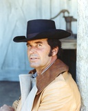 James Garner Posed In Brown Leather Jacket and Grey Shirt with Black Cowboy Hat Photo by  Movie Star News
