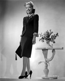 Gloria DeHaven posed in Black Formal Dress in Black and White Photo by  Movie Star News