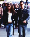 Amanda Bynes Walking in Black Leather Jacket with Man Photo by  Movie Star News