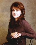 Jane Leeves sitting on the Chair in Dark Brown Linen Long Sleeve Shirt with Hands Together Photo by  Movie Star News