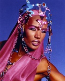 Grace Jones Pose in Blue Portrait Photo by  Movie Star News