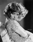 Clara Bow sitting Pose in Floral Shirt Classic Portrait- Photograph Print Photo by  Movie Star News