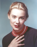 Hope Lange wearing a Brown Sweater with Red lipstick on Blue Background Photo by  Movie Star News