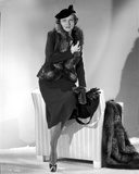 Irene Castle wearing a Black Dress with Furry Shawl Photo by  Movie Star News