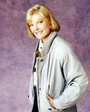 Jane Curtin Portrait in Grey Silk Coat with Grey Tweed Collar in Violet Background Photo by  Movie Star News