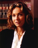 Jennifer Grey Close Up Portrait in Black Coat and Pearl Necklace Photo af Movie Star News