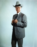 Larry Hagman Posed in Grey Coat with Cowboy Hat Photo by  Movie Star News
