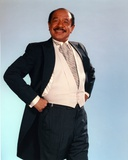 Jeffersons Posed in Black Sport Coat and White Vest Suit with Stripe Necktie Photo by  Movie Star News