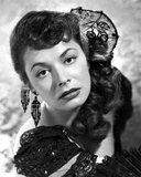 Ruth Roman wearing Black Gown with Huge Earrings Photo by  Movie Star News