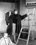 Sylvia Sidney Posed in a Furry Black Coat with a Steel Ladder Photo by  Movie Star News