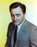 Robert Vaughn Portrait in Yellow Background Photo by  Movie Star News