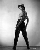 Jean Simmons Posed Facing Back in White Gingham Short Sleeve Shirt and Black Straight Cut Pants wit Photo af Movie Star News