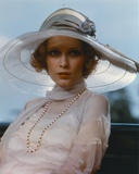 Mia Farrow wearing White Dress with Hat Portrait Photo by  Movie Star News