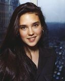 Jennifer Connelly in Black Coat Close Up Portrait in Brown Suit Dress and Hoop Earrings Photo by  Movie Star News