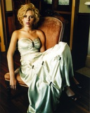Scarlett Johansson in White Gown on Couch Photo by  Movie Star News