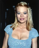 Jeri Ryan Close Up Portrait in Blue Grey Square-Neck Short Sleeve Dress with Silver Glitters Photo by  Movie Star News