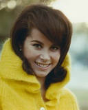 Stefanie Powers smiling in a Portrait wearing Yellow Winter Coat Photo af Movie Star News