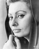 Sophia Loren wearing a Hood in a Close Up Portrait Photo by  Movie Star News