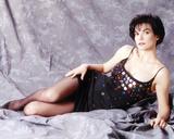 Terri Garber Reclining in Black Beaded Spaghetti Dress Photo by  Movie Star News