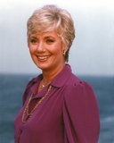 Shirley Jones Close Up Portrait in Dark Purple Mutton Long Sleeve Dress and Gold Necklace Photo by  Movie Star News