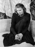 Ingrid Bergman Posed on Couch in Black Gown Photo by E Bachrach
