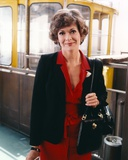 Jessica Walter Portrait in Black Coat and Red Collar Dress with Black Leather Shoulder Bag Photo by  Movie Star News