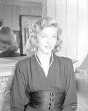 Lauren Bacall smiling Black and White Photo by  Movie Star News