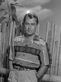 Alan Ladd standing in Front of a Wooden Fence in Portrait in Classic Photo by  Movie Star News