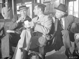Anatomy Of A Murder Three Men Talking While sitting Outside the Station in Movie Scene in Black and Photo by  Movie Star News