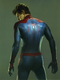 Andrew Garfield in a Spiderman Costume Looking Back in Gray Background Photo by  Movie Star News
