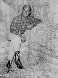 Alan Ladd sitting on a Hay Stack Portrait in Classic Photo by  Movie Star News