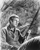 Steve McQueen Horse Riding Scene Excerpt from Film in Black and White Photo by  Movie Star News