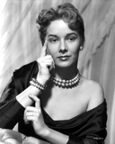 Vera Miles photographed waering a silk black, off-the-shoulder, boat neck gown, with her finger pre Photo by  Movie Star News