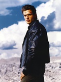 Antonio Sabato Jr posed in Black Leather Jacket Photo by  Movie Star News