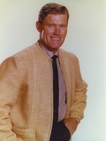 Chuck Connors Posed in Brown Coat Photo by  Movie Star News