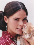 Ali MacGraw Posed in Red Dress with Kitten Photo by  Movie Star News
