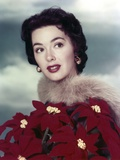 Close Up Portrait of Barbara Rush wearing in Red Flower Dress Photo by  Movie Star News